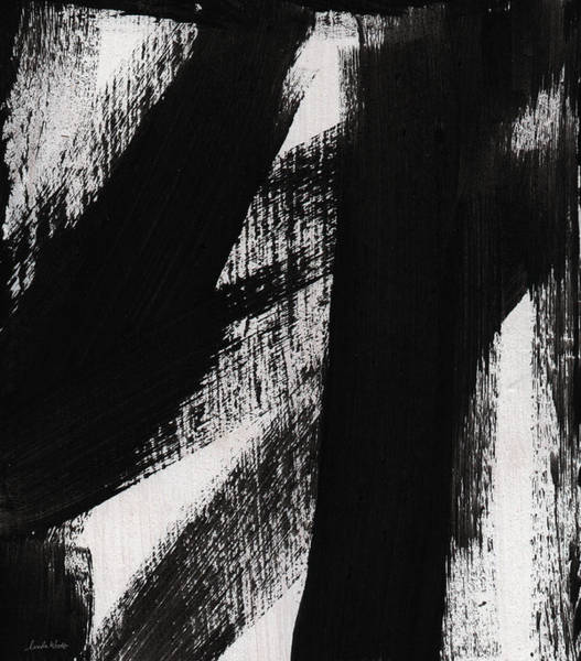 Stroke Painting - Timber- Vertical Abstract Black And White Painting by Linda Woods