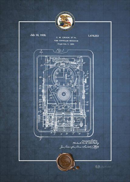 Digital Art - Time Controlled Mechanism Vintage Patent Blueprint by Serge Averbukh