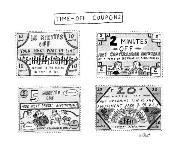 4 4 2 Drawing - Time-off Coupons by Roz Chast