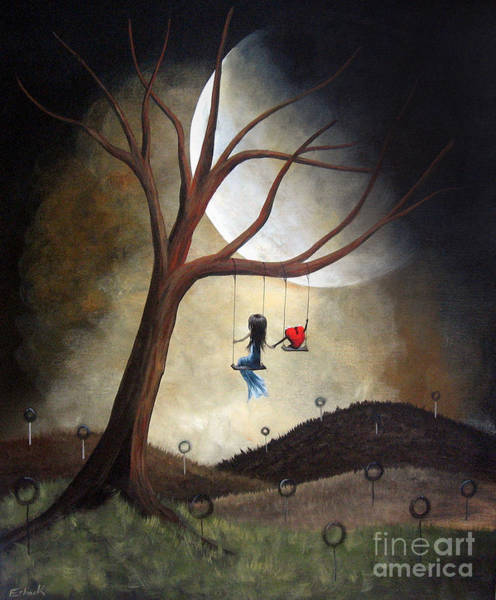 Red Moon Painting - Time Together By Shawna Erback by Erback Art