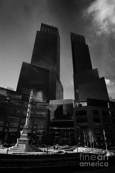 Wall Art - Photograph - Time Warner Center And Statue Of Christopher Columbus On Columbus Circle New York City by Joe Fox