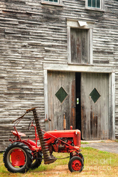 Ossipee Wall Art - Photograph - Red Tractor And Old Barn Ossipee New Hampshire by Dawna Moore Photography