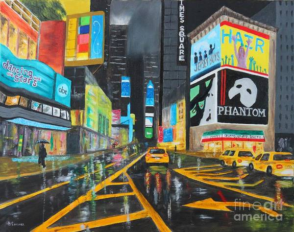 Time Square Painting - Times Square by Bev Conover