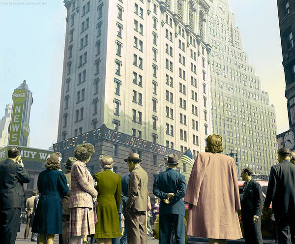 Photograph - Times Square D-day 1944. by Celestial Images