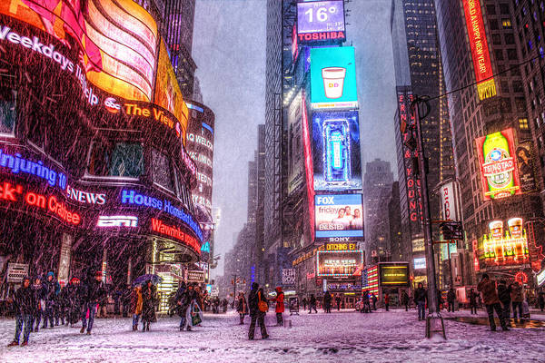 Times Square In The Snow Art Print by Zev Steinhardt