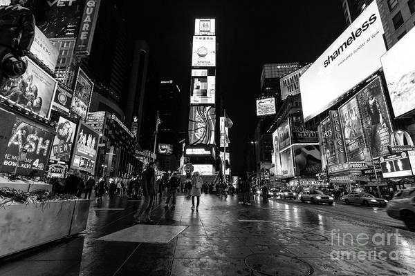 Wall Art - Photograph - Times Square Mono by John Farnan