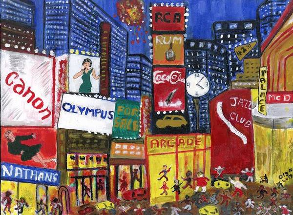 Wall Art - Painting - Times Square Nyc by Olga Roos