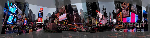 Photograph - Times Square Panorama by Gregory Dyer