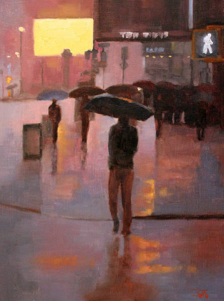 Wall Art - Painting - Times Square Rain by Tate Hamilton
