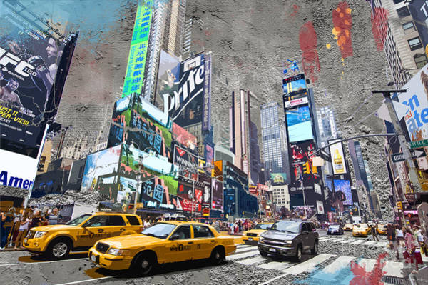 Wall Art - Digital Art - Times Square Street Creation by Delphimages Photo Creations