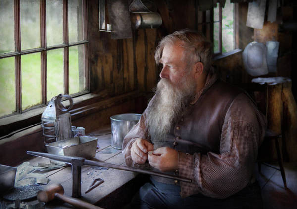 Grandpa Photograph - Tin Smith - Making Toys For Children by Mike Savad