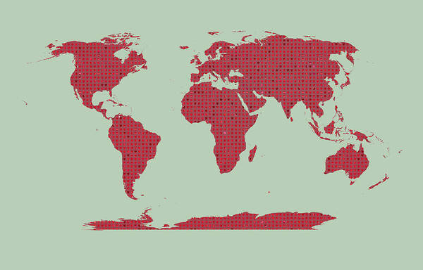 Earth Day Digital Art - Tiny Red Hearts World Map by Daniel Hagerman