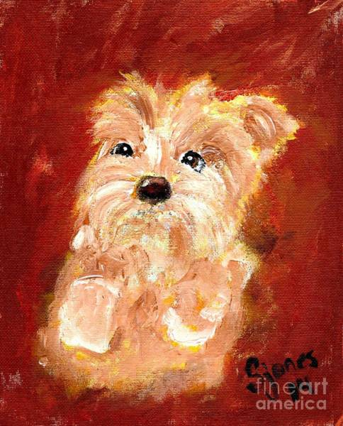 Painting - Tiny Terrier by Shelley Jones