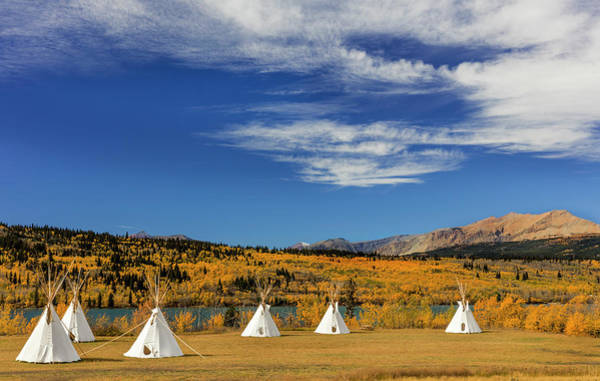 Wall Art - Photograph - Tipis With Yellow Mountain, St by Chuck Haney