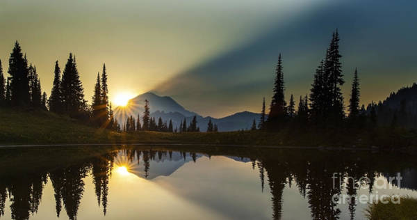 Mount Rainier Photograph - Tipsoo Rainier Sunstar by Mike Reid