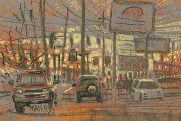 Shops Drawing - Tire Service by Donald Maier