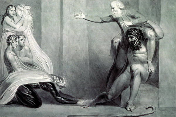 Poems Photograph - Tiriel, Borne Back To The Palace On The Shoulders Of His Brother Ijim, Addressing His Five Daughters by William Blake