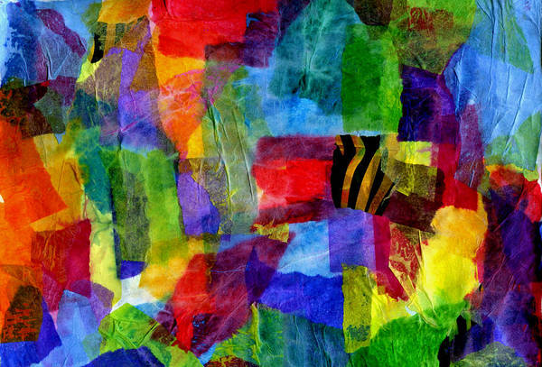 Primary Colors Mixed Media - Tissue Paper Collage 08 15 13 by Cassandra Donnelly
