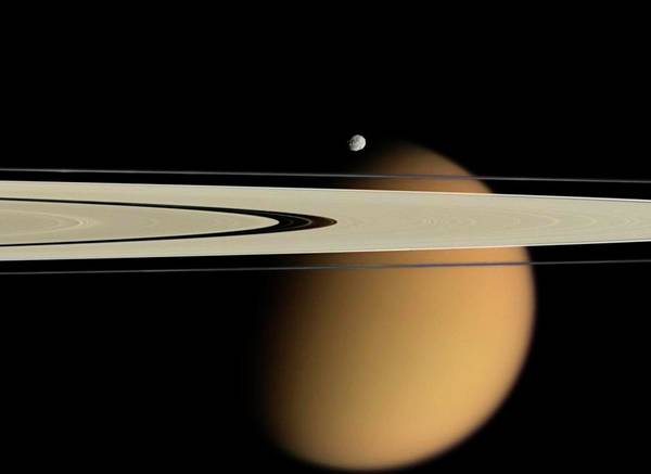 Titan And Saturn's Rings Art Print by Nasa/jpl/space Science Institute