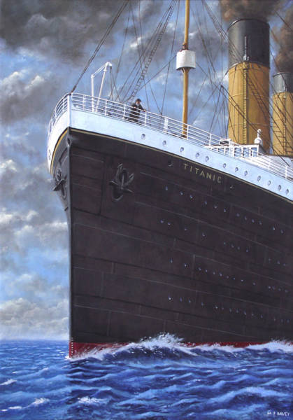 Wall Art - Painting - Titanic At Sea Full Speed Ahead by Martin Davey