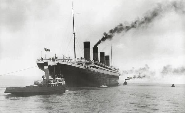 Tug Boat Photograph - Titanic Ready For Her Maiden Voyage by English Photographer