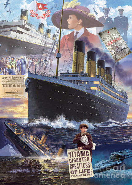Seaside Digital Art - Titanic by MGL Meiklejohn Graphics Licensing