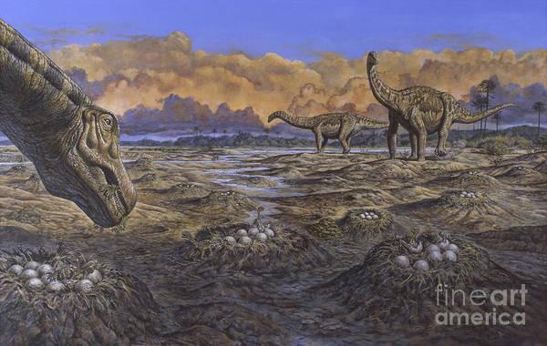 Mound Digital Art - Titanosaur Nesting Site, Mid-cretaceous by Mark Hallett