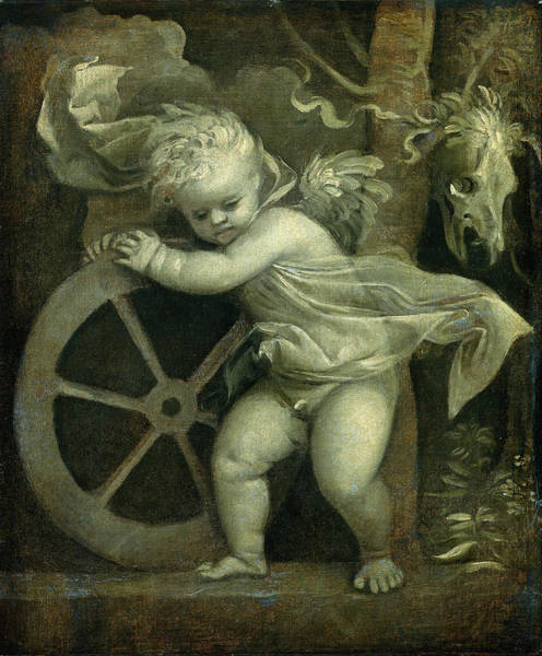 Wall Art - Painting - Titian, Cupid With The Wheel Of Fortune, Italian by Litz Collection