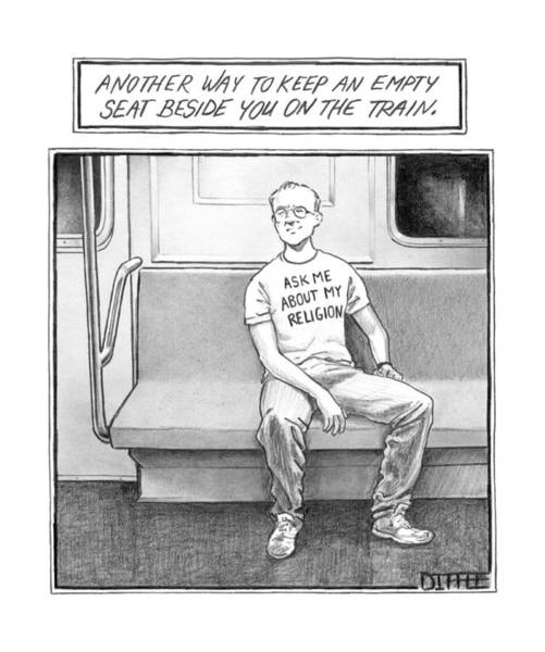 Subways Drawing - Title: Another Way To Keep An Empty Seat by Matthew Diffee