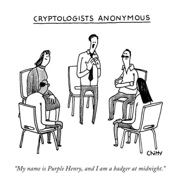 Wall Art - Drawing - Title: Cryptologists Anonymous by Tom Chitty