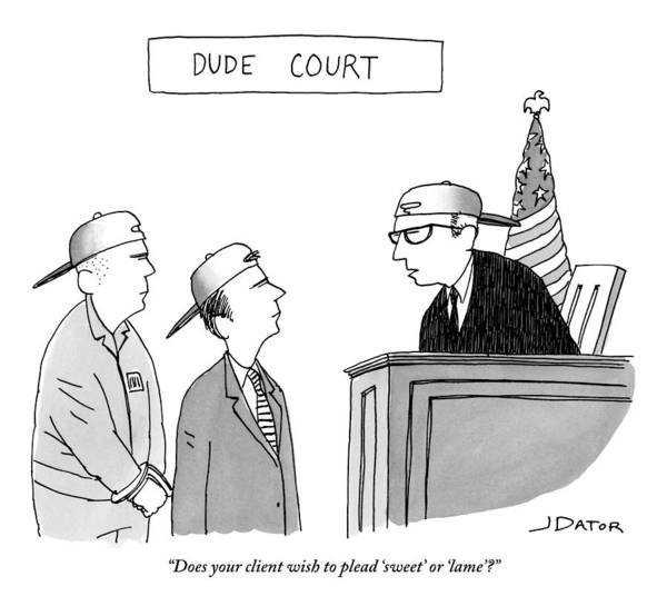 Legal Drawing - Dude Court by Joe Dator
