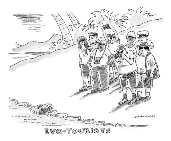 Environment Drawing - Title: Evo-tourists. A Group Of Tourists Take by Mick Stevens