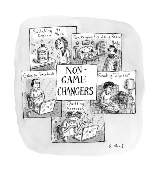Organic Drawing - Title: Non-game-changers. Five Boxes Depicting by Roz Chast