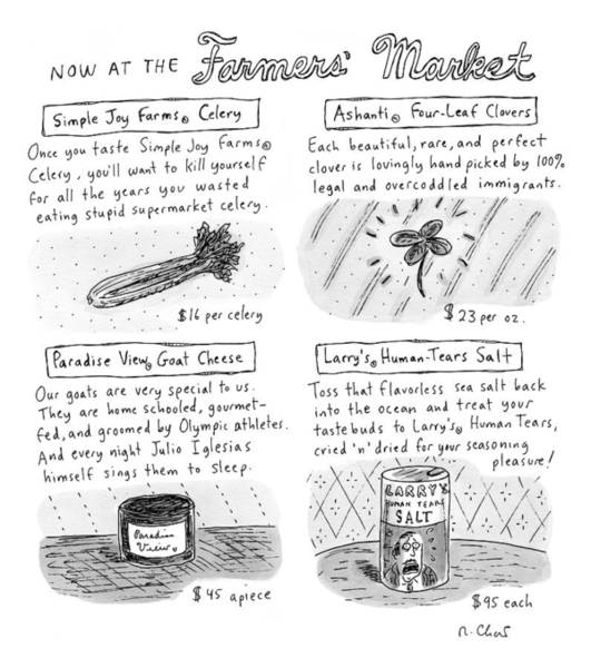 Farmer Drawing - Title: Now At The Farmer's Market Four Products by Roz Chast