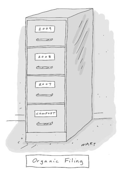 Organic Drawing - Title: Organic Filing. A File Cabinet Has Drawers by Kim Warp