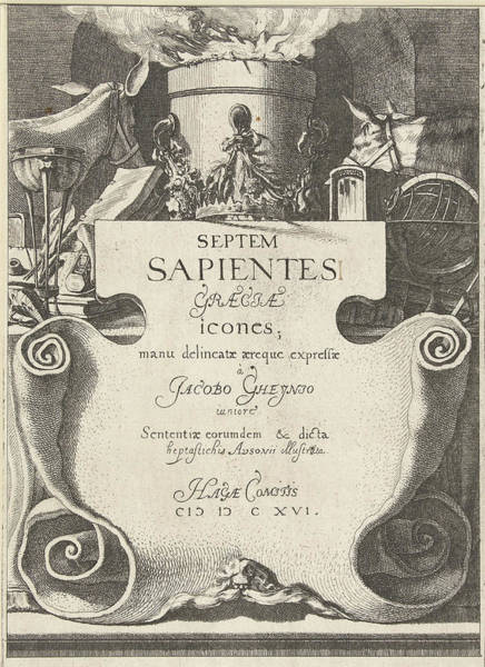Wall Art - Drawing - Title Print For Print Series The Seven Sages Of Greece by Jacob De Gheyn Iii