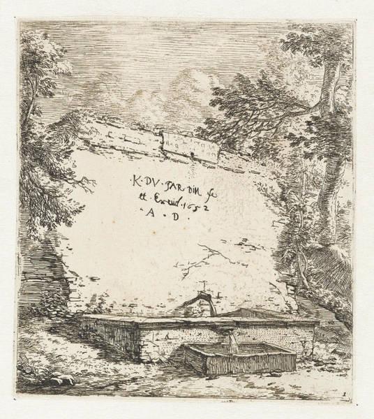 Pump Drawing - Title Print With Wall Fountain, Karel Dujardin by Karel Dujardin