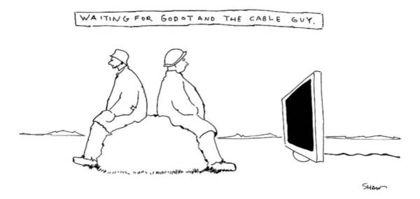 Wall Art - Drawing - Title: Waiting For Godot And The Cable Guy. Two by Michael Shaw