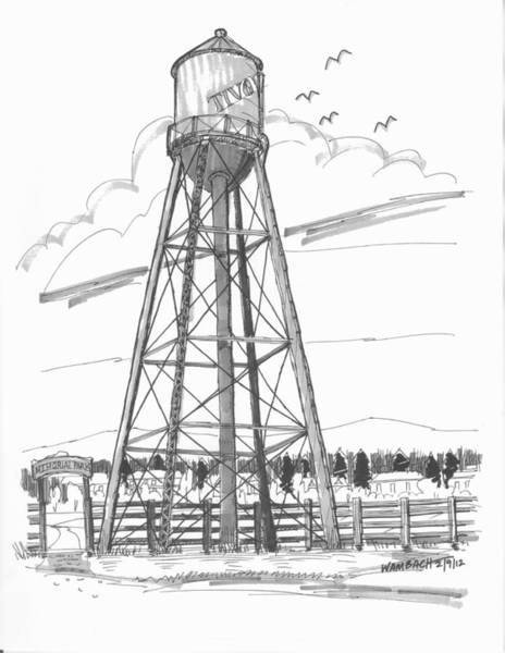 Drawing - Tivoli Water Tower by Richard Wambach