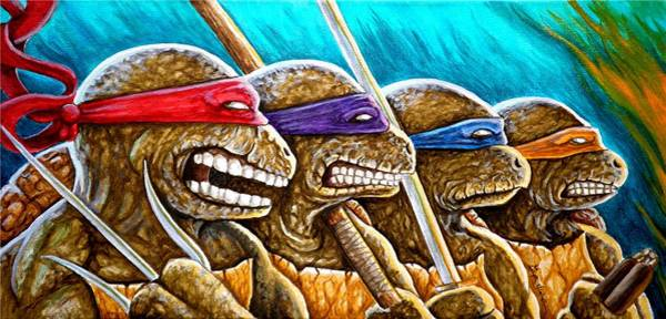 Wall Art - Painting - Tmnt Showdown 1 by Al  Molina