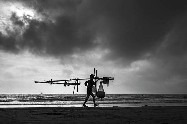 Shoulder Photograph - To The Market- Namdinh Seashore-north by Hnh Images