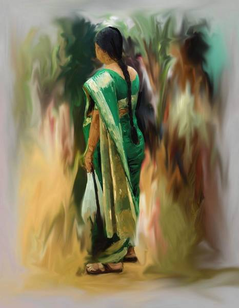 Usha Painting - To The Market by Usha Shantharam
