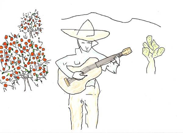 Mexican Guitar Player Painting - To The Oranges by Jim Taylor