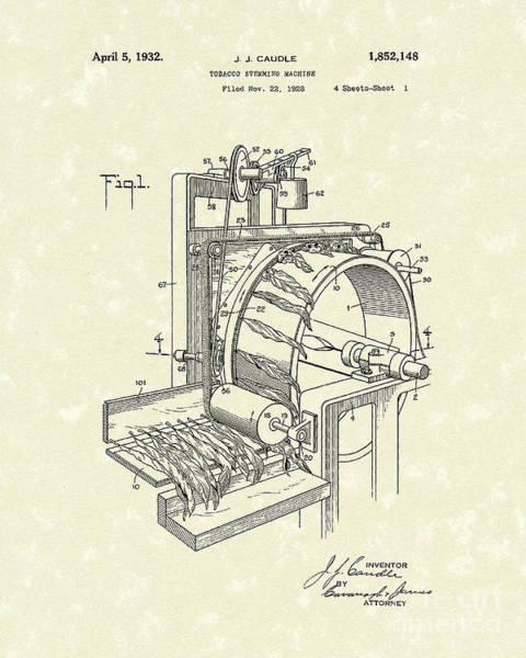 1932 Wall Art - Drawing - Tobacco Machine 1932 Patent Art by Prior Art Design