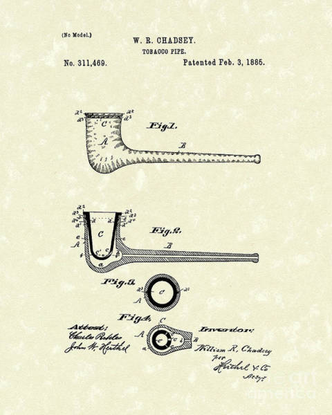 Tobacco Wall Art - Drawing - Tobacco Pipe 1885 Patent Art by Prior Art Design