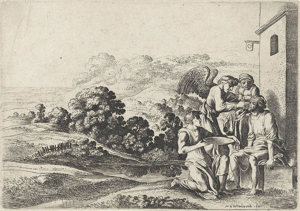 Healing Drawing - Tobias Heals His Fathers Blindness, Moyses Van Wtenbrouck by Moyses Van Wtenbrouck And Broer Jansz