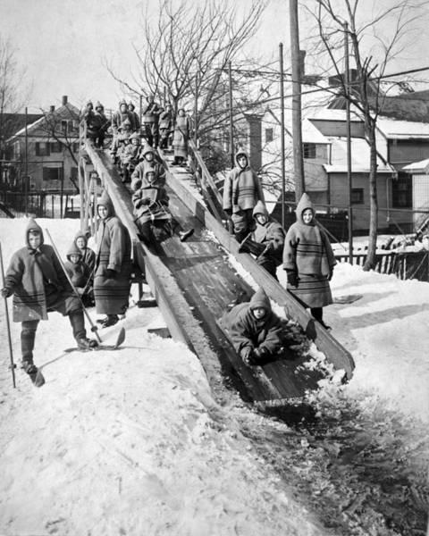 1911 Photograph - Toboggan Slide by Underwood Archives