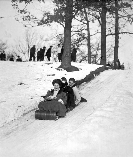 1900 Photograph - Tobogganing In 1900 by Underwood Archives