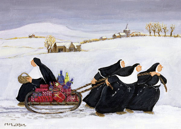 Burden Wall Art - Painting - Tobogganing by Margaret Loxton