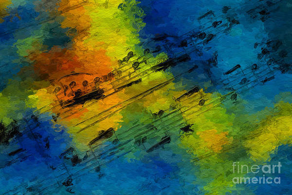 Art Print featuring the digital art Toccata In Blue by Lon Chaffin
